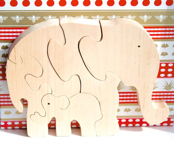 Wood Elephant Puzzle. Wooden toy for kids. Handmade Eco Friendly puzzle toy.