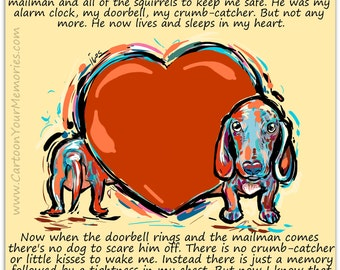 The dog wrapped around my heart  Dachshunds art print