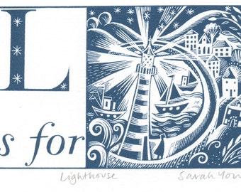 L is for Lighthouse - Alphabet Silkscreen Print