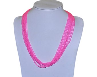 Neon Fuchsia Multi-Strand Seed Beads Necklace with silver plated findings, Nepal