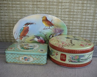 Set of 3 Vintage Cookie Tins, Bird Design, Instant Collection