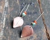 Copper leaf with turquoise and spondylus shell on sterling silver earwire