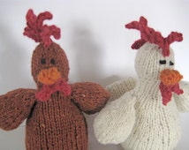CHICKEN & ROOSTER, hand spun yarn, wool, toy, organic, hand knitted, soft toy, eco friendly