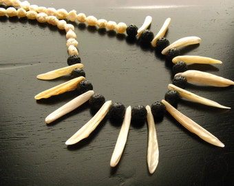 Exotic Pearl and Lava Rock Statement Necklace