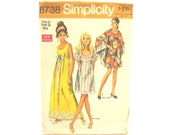 """1970 Vintage Dress in Two Lengths and Shawl Pattern - Bust 34"""""""