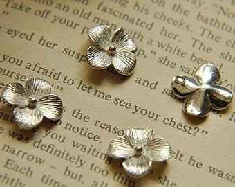 6pcs raw brass plating silver  flower   pendant finding