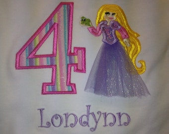 Tangled appliqué birthday shirt