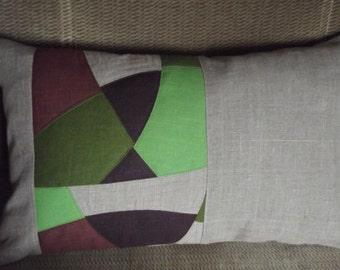 "Throw  pillow covers natural linen cushions 12"" x 20"" gray green purple"