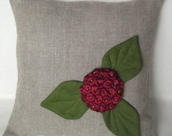 "Gray linen pillow case throw  pillow cover organic linen bedroom accent 16""x16"""