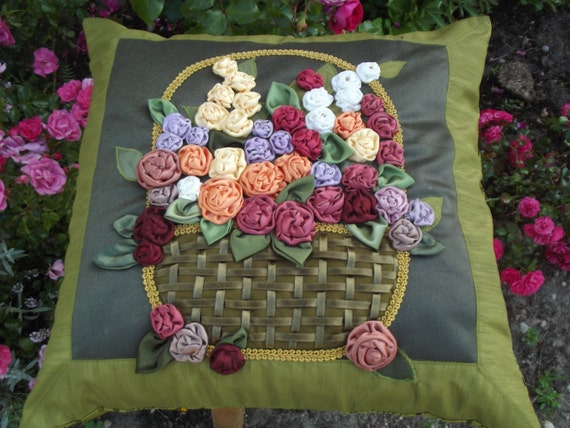 Decorative throw pillow cover vintage style romantic home  cushion case roses 20x20