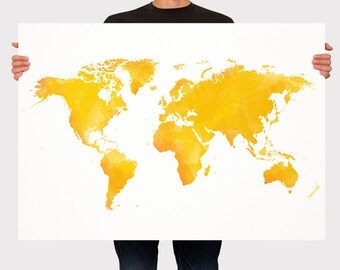 World Map Watercolor Art Print Poster, Yellow and Orange World Map, Room Decor, Wall Hanging, Travel World Map, Art - XLarge - Medium