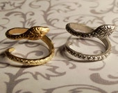 Snake Ring // Silver or Gold // Crystal or Plain // Adjustable