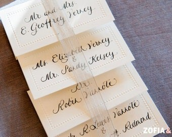 Custom Wedding Calligraphy on Place Card or Escort Card with Guest Name and Table No.