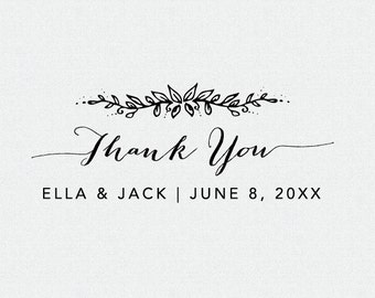 Thank You Stamp, Floral, Wedding Favor Stamp, Thank You Self Inking Stamp, Thank You Rubber Stamp, Thank you Stamp for Weddings (T106)
