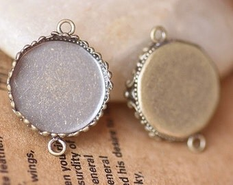 20PCS antique bronze 15mm round crown-edged bezel cup cabochon mountings charm connector- W05596