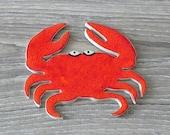 Red Ceramic Crab Big Mosaic Tile Pottery Ocean Art Supplies