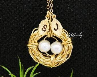 TWO Initial Necklace, Bird Nest Necklace, Monogram Mother's Necklace, GOLD,Mother Jewelry, New Mom , Initial Jewelry, Mothers Day Gift
