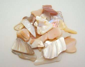 tan and ivory mother of pearl chips - 13mm - 32mm (not drilled) - 50 pieces