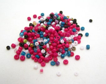 destash - bright mixed color seed beads - 1mm - 2.85oz
