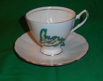 One (1), St. John, Newfoundland Souvenir, Porcelain Tea Cup & Saucer, from Elizabethan China.