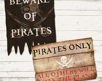 Ahoy There Mateys - Pirate Birthday Party Signs - Rustic, Vintage Design - Skulls and Swords -  Includes up to 6 signs of your choice