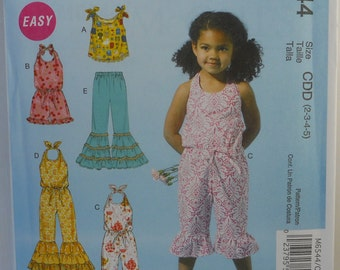 McCalls 6544, Childs or Girls Top, Halter Style Romper or Jumpsuit, and Pants , Uncut