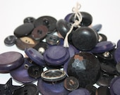 Vintage Lot Of 70 Navy Blue, and  Black, Plastic, and metal buttons, Varying Sizes, and Shapes, Part Of A Button Collection, Crafts, Repair
