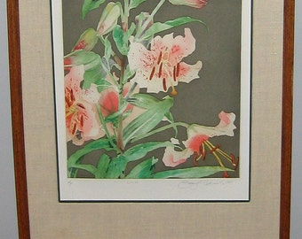 Pink Lilies by Gary Bukovnik, Original Signed Limited Edition Color Aquatint