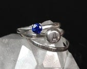 Customizable Birthstone and Letter Ring Set