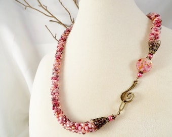 Rose Garden, Rose Necklace, Pink Necklace, Kumihimo Necklace, Beaded Necklace, Braided Necklace, Mother's Day Gift, Gift For Her,JewelryByPJ