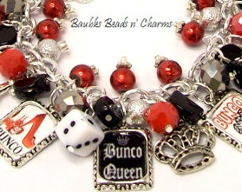 Bunco Charm Bracelet Jewelry, Bunco Queen, Bunco Picture Charm Bracelet, Love to Play Bunco