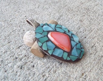 Fused Glass Spoon Jewelry, Mosaic Jewelry, Art Pendant, Ornament, Hippie Mosaic Pendant