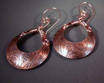 READY to SHIP Handmade Etched Copper Earrings CPE65