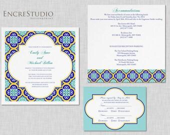 Printable Spanish Tiles Wedding Invitation