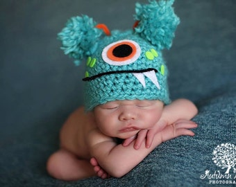 Baby Boy or Girl Hat TURQUOISE MONSTER Newborn Baby Boy / Girl Crochet Hat More Colors Available 0-3 & 3- 6 months