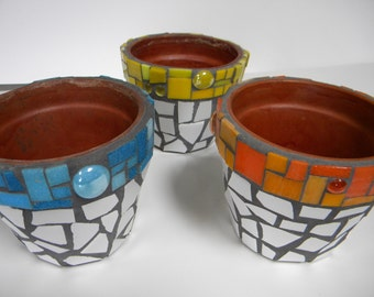 Mosaic Flower Pot or Caddy - Set of 3