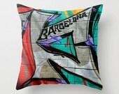 Barcelona graffiti photo pillow cover