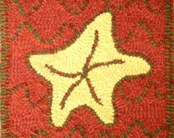 Rug Hooking Starfish KIT Wall Hanging Wool on Linen    Original design by Pastimes PEI