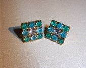 Reserved:  Painted Lady 89  Vintage Rhinestone Earrings Hand Painted