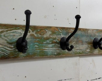 Rustic Coat Rack, Nautical Coat Rack, Hall Tree, Primitive Coat Rack, Cast Iron Coat Hooks, Wall Hanging, Antique Style Coat Rack