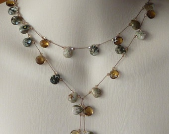 Faceted Whiskey Quartz and Ocean Jasper Briolette Double Lariat hand knotted on silk