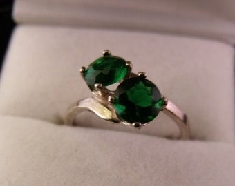 Ladies Emerald 2 Stone By Pass Ring