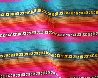 Aztec Fabric, Peruvian Fabric, Woven, Bright Playa Stripes, 2 Yards