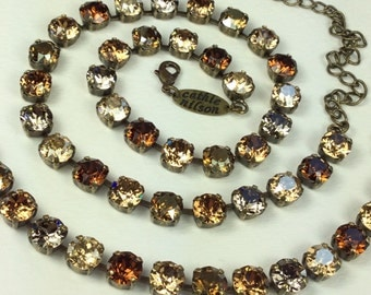 "Swarovski Crystal Necklace - Designer Inspired  - Browns, Grays, & Golden Neutrals "" Bronzey Browns """