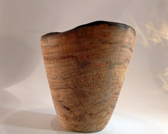 Handturned Wood Spalted Maple Bowl Natural Edge Wooden Bowl