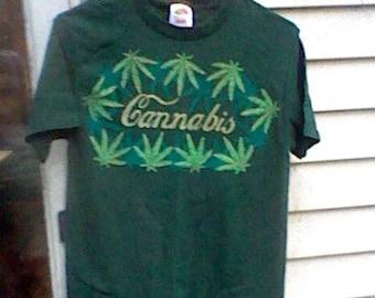 Hand Painted Cannabis Tshirt