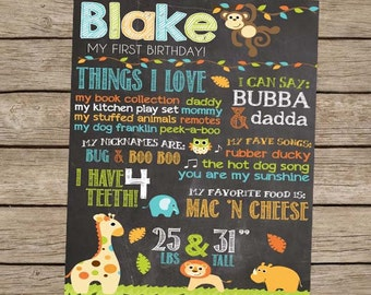 Safari Birthday Chalkboard Poster, First Birthday Chalkboard Sign, Safari Birthday Party, Safari Birthday Decor, Jungle Party, Zoo - PRINTED