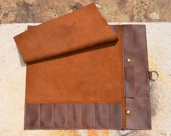 7slot leather knife roll