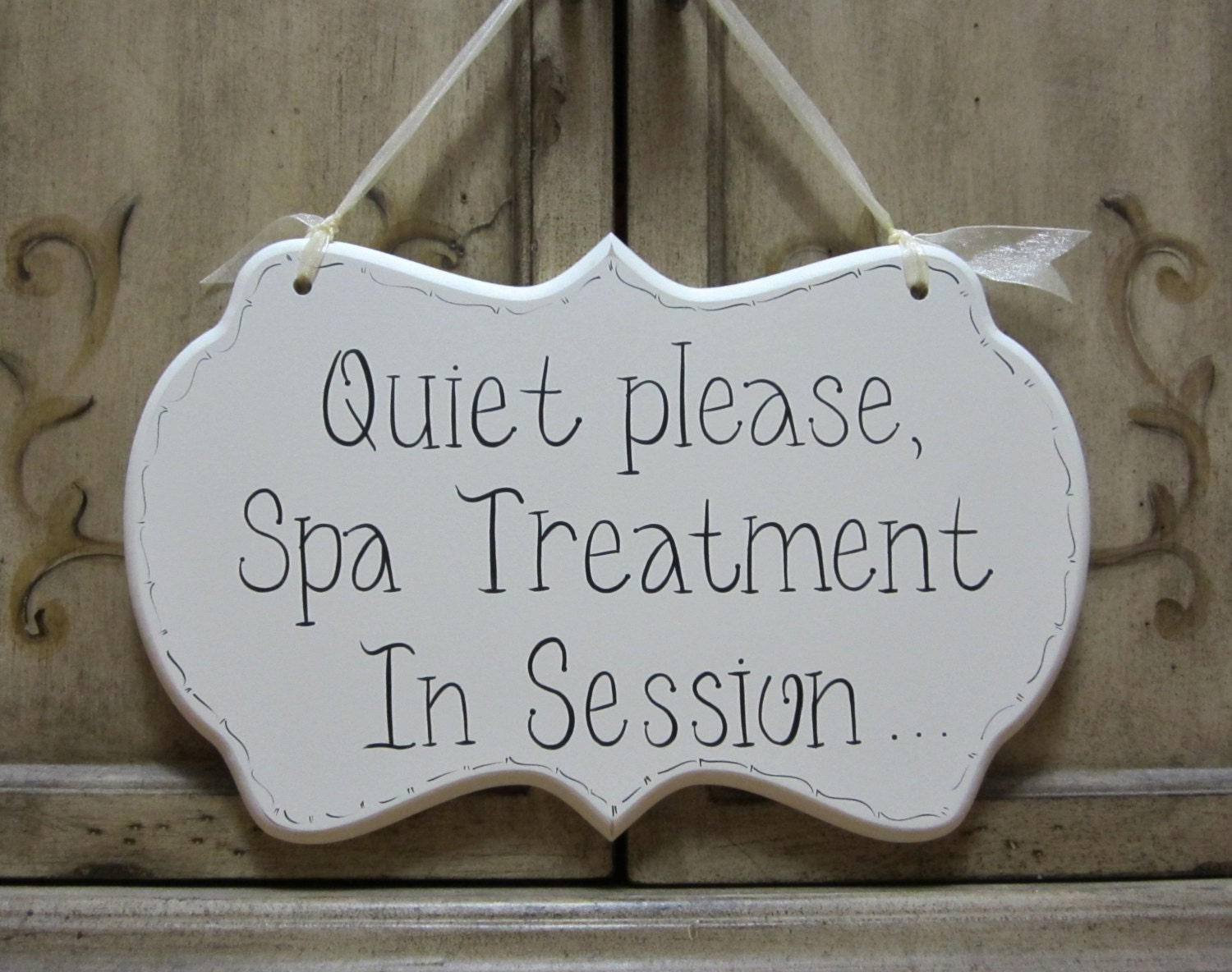 Spa Sign Hand Painted Wooden Cottage Chic Door Sign