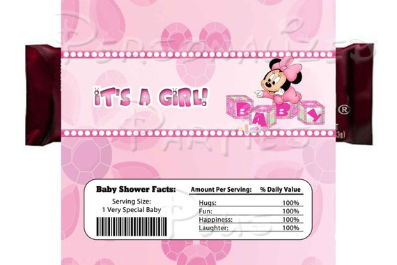 """Minnie Mouse baby shower candy bar wrappers that say """"It's a girl"""""""